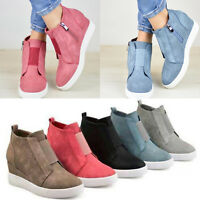Womens Hidden Wedge Mid Heel Ankle Boots Sneakers Trainers Zip Casual Shoes Size