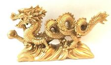 "NEW GOLD Chinese Feng Shui Dragon Figurine Statue for Luck & Success 6"" LONG"