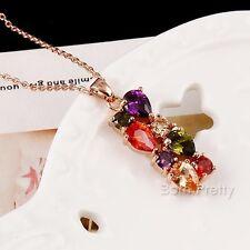 Damen Bunt Strass Halskette Mode Schmuck Anhänger Kette Geschenk