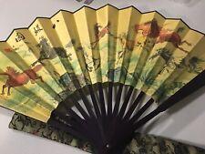 "Authentic Chinese Folding Hand Fan Zhe Shan Fabric  13"" Horse Pattern Good"