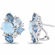 Sterling Silver Larimar and Blue Topaz with White Topaz Stud Cluster Earrings