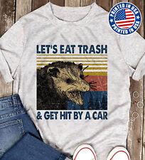 Retro Raccoon Let's Eat Trash & Get Hit By A Car T-Shirt Men Sport Grey S-3XL