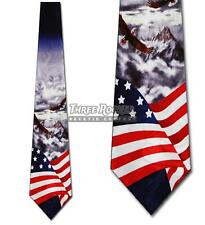 Flag Ties Eagle Necktie Mens American Patriotic Bird Neck Tie Brand New