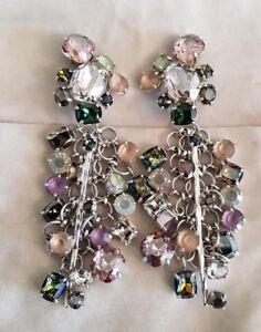 Daniel Swarovski Paris Haute Couture Vintage 2 way Clip on Earrings Stud Drop