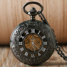 Classical Roman Numerals Hollow Automatic Mechanical Men Pocket Watch Chain Gift