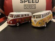 """2x 5"""" Kinsmart Classic 1962 Volkswagen Bus Van Diecast Model 1:32 VW- Yellow Red"""