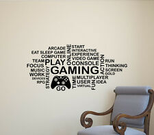 Gaming Wall Decal Word Cloud Gamepad Video Gamer Vinyl Sticker Poster Decor 304