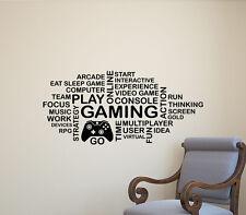 Gaming Wall Decal Word Cloud Gamepad Video Gamer Vinyl Sticker Poster Decor 304