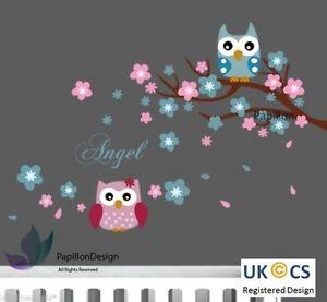 Angel Words Cherry Tree Flower Owls nursery Kid Baby Girl Boy wall Decal sticker