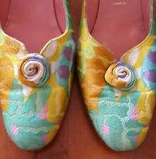 Vintage Brocade Kitten Heel Shoes, Size 6