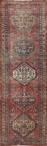 Antique Geometric Tebriz Hand-knotted Runner Rug Evenly Low Pile Oriental 3'x12'