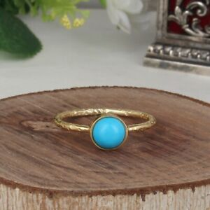 Handmade 925 Silver Gold Plated Turquoise Gemstone Stackable Ring Jewelry