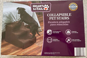 Heart To Tail Collapsible Pet Stairs Supports 50 lbs Washable Sherpa Cover