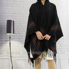 Mens Womens Wool Blend Stripe Hooded Shawl Cloak Boho Tassel Hippie Cape Poncho
