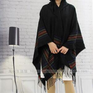 Women Men Wool Blend Stripe Hooded Shawl Cloak Boho Gypsy Hippie Cape Poncho Top