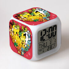 Japanese Anime Pokemon Pikachu Seven Color Change Glowing Alarm Clock