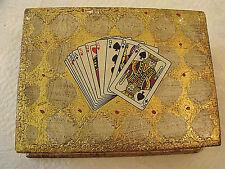 "Vintage HTF Italian Florentine Pr Card Decks Gold Gild Wood Storage Box 7""x5""x2"""