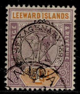 LEEWARD ISLANDS QV SG12, 4d dull mauve & orange, VERY FINE USED. Cat £80.
