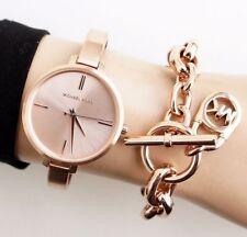 NWT Michael Kors Women's Jaryn Rose Gold Slim Watch 36mm MK3547
