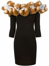 $2,295 Moschino Couture X Jeremy Scott Teddy Bear Collar Embellished Wool Dress