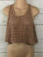 Forever 21 Mesh Crop Tank Top Womens Juniors Size Small S/P Lace S6