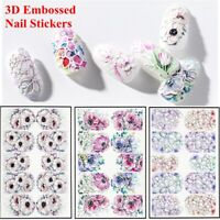Beauty DIY Women Fashion 3D Engraved Water Decals Nail Stickers Embossed Flower