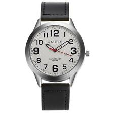 GAIETY Mens Watches Leather Strap Band Analog Quartz Movement Wrist Watch White