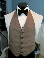Mens Formal Vest Size Small Brown Matching Bow Tie