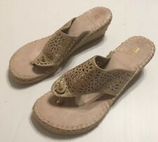 White Mountain Womens Sz 8.5M Wedge Sandals Gold Slip On Shoes EUC!