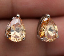 18K White Gold Filled - 5*7mm Waterdrop Morganite Topaz Zircon Party Earrings