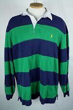 Ralph Lauren Polo Sz XXL 2XL Striped Rugby Shirt Blue Green Long Sleeve Vintage