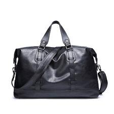Men Faux Leather large vintage Black travel gym weekend overnight bag Handbag