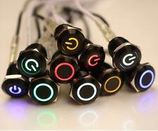 Metal Black Push Button Momentary Switch 4 Pin 12mm Waterproof Led Light 12V