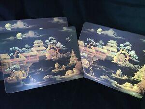 "Vintage 4 Pimpernel? Chinese midnight pavilion? Cork Placemats 15 x 11 1/2"""