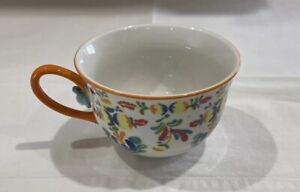 Anthropologie Floral Cadiz Ceramic Coffee Mug / Tea Cup, ORANGE