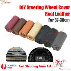 """Universal Real Leather DIY Car Steering Wheel Cover Protection Needle 38cm 15"""""""