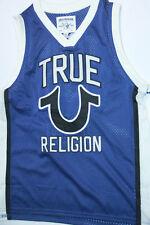 New True Religion Men Logo Jersey Blue Tank   Shirt Large L Basketball