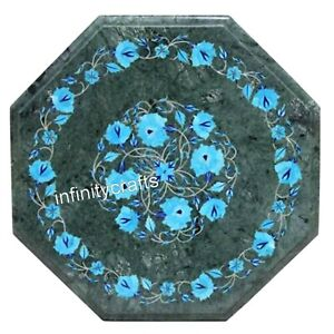 15 Inches Octagon Marble Coffee Table Top Marquetry Art Patio Table for Garden