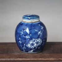 """Old Chinese Blue and white Porcelain qing Dynasty Plum blossom Jar pot 3.3"""""""