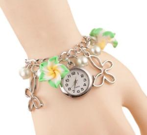 Green Frangipani Charms Faux Pearl Pendant Bracelet Quartz Wrist Bangle Watch