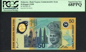 Malaysia 1998, Commemorative 50 Ringgit, Polymer, P45, PCGS 68 Superb GEM UNC