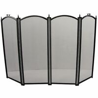 Fire Screen Black Fireside Fireplace Safety Guard Folding New By Home Discount
