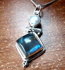 Freshwater Pearl and Labradorite Necklace 925 Sterling Silver Square Round New