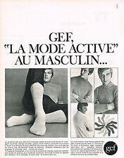 PUBLICITE  1969  GEF   chaussettes  pulls LA MODE ACTIVE AU MASCULIN