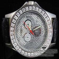 Men's Khronos/Joe Rodeo White Gold Finish Large White Stone Bezel Wrist Watch