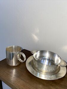 Vintage Sheffield silver plated three piece baby Set