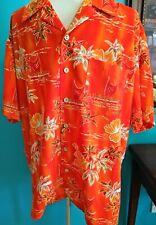 Kennington Ltd Hawaiian Shirt Mens XL Orange tropical Boat Canoe Aloha Luau Tiki