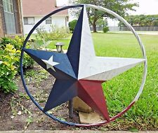 "24"" RED WHITE BLUE BARN STAR METAL WALL ART WESTERN HOME DECOR VINTAGE RUSTY NEW"