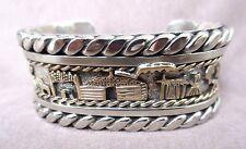 Navajo Heavy Sterling Silver & Gold Story Teller Cuff Bracelet by NN JB0036