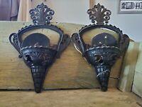 PAIR OF BEAUTIFUL ANTIQUE ART DECO SLIP SHADE WALL SCONCE LIGHT FIXTURE THEATER